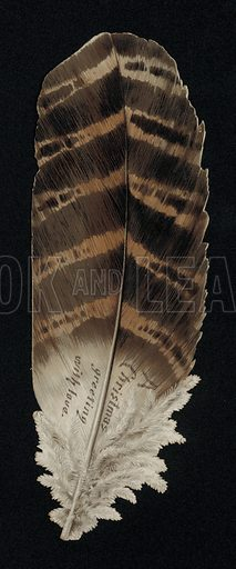 Christmas card in the shape of a feather, greetings card, late 19th century.