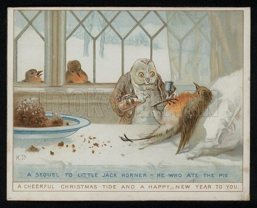 A sequel to Little Jack Horner, he who ate the pie, Christmas greetings card