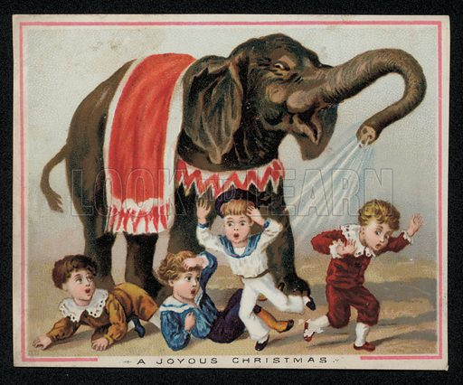 Elephant playfully showering children with water, Christmas greetings card, late 19th century.