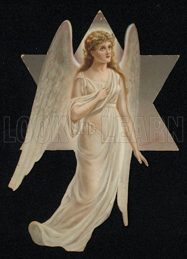 Angel and star, Christmas greetings card, late 19th century.