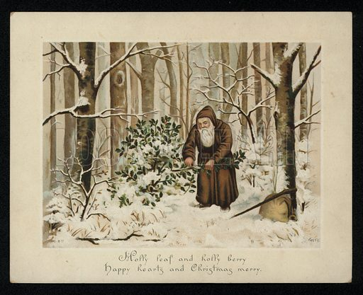 Man gathering holly at Christmas time, greetings card, late 19th century.