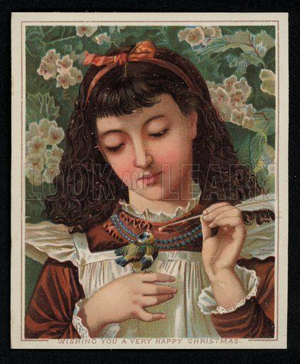 A girl feeding a blue tit, Christmas greetings card, late 19th century.