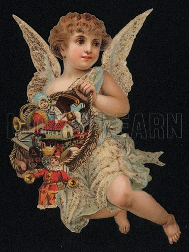 Angel carrying a basket full of toys, Christmas greetings card, late 19th century.