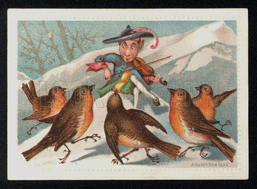 Elf with a fiddle entertaining a group of robins, New Year's greetings card