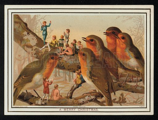 Robins and a group of performers, Christmas greetings card