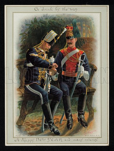 Two cavalry soldiers enjoying a drink, New Year's greetings card, late 19th century.