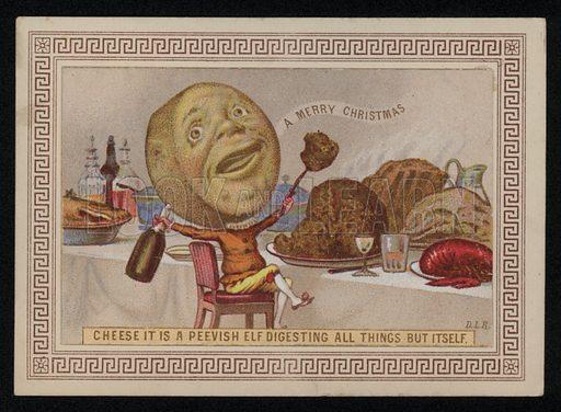 Cheese enjoying a feast, Christmas greetings card