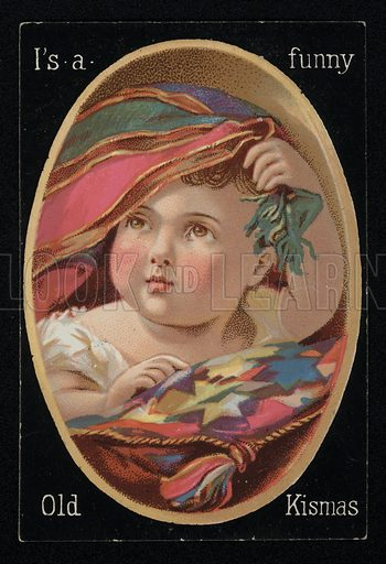 Child with a blanket, Christmas greetings card, late 19th century.