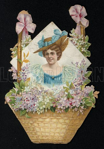 Portrait of a woman in as basket of pink and white flowers, greetings card, late 19th century.