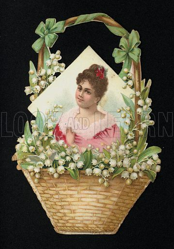 Portrait of a woman in a basket of lily of the valley flowers, greetings card, late 19th century.