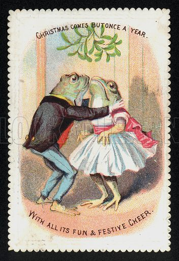 Frogs kissing under the mistletoe, Christmas greetings card