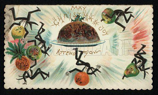 Tumbling fruit and plum pudding, Christmas greetings card