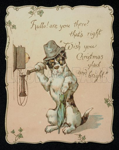 Dog on the telephone, Christmas greetings card, late 19th century.