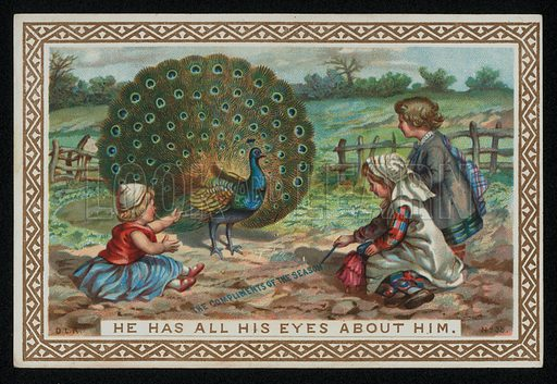 Children with a peacock displaying its feathers, Christmas greetings card, late 19th century.