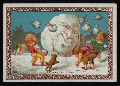 Boys throwing snowballs at a snowman, Christmas greetings card