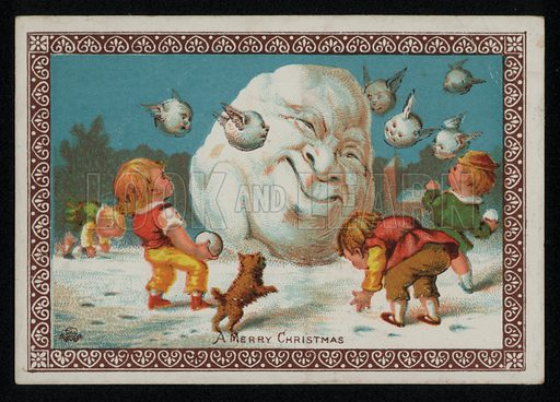 Boys throwing snowballs at a snowman, Christmas greetings card, late 19th century.