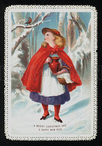 Little Red Riding Hood in the woods, Christmas greetings card
