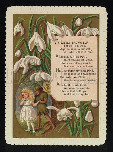 Rhyme about an elf and a girl, Valentine's greetings card