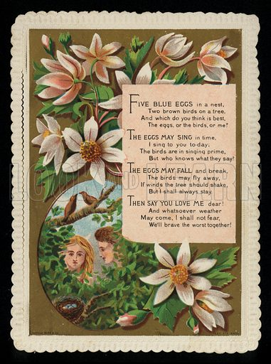 Flowers and a message of love, greetings card, late 19th century.