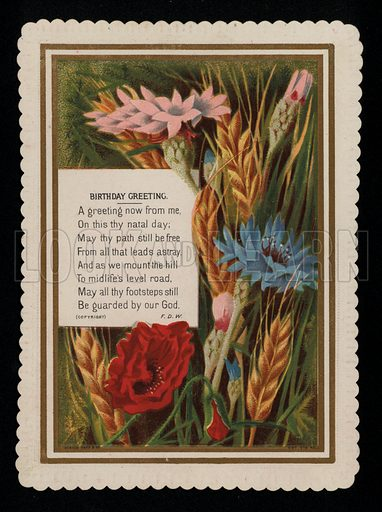 Summer meadow flowers, birthday greetings card, late 19th century.