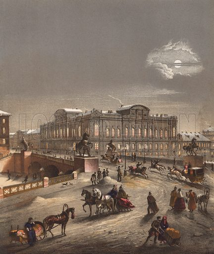 St Petersburg, Russia, in winter.  Illustration for music cover, 19th century.