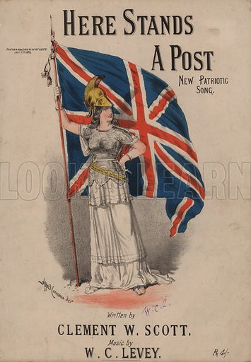 Here Stands a Post, New Patriotic Song - Britannia holding the Union Jack.  Music cover, 19th century.