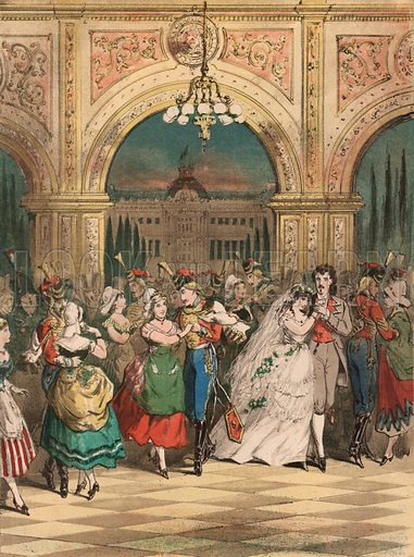 Waltz.  La Fille de Madame Angot.  Valse on Lecocq's Comic Opera by Charles Coote.  Illustration for music cover, 19th century.