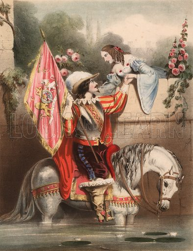 Look over the Garden Wall Kate - soldier on a white horse meeting his love.  Illustration for music cover, 19th century.