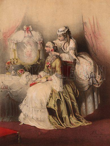 Marie Antoinette with her maid.  Illustration for Antoinette Valse by J Pridham.  Music cover, 19th century.