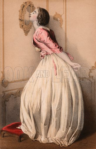 Beautiful girl kissing her reflection in the mirror.  Illustration for Il Bacio.  Music cover, mid 19th century.