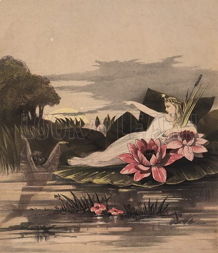 Water sprite.  Illustration for music cover, 19th century.