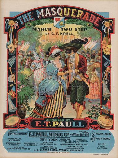The Masquerade.  Music cover, early 20th century.