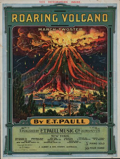 Roaring volcano.  Music cover, early 20th century.