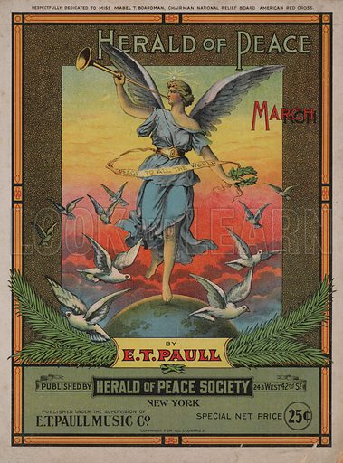 Herald of Peace March.  Music cover, early 20th century.