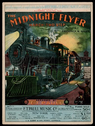 The Midnight Flyer, March Two Step.  Music cover, early 20th century.