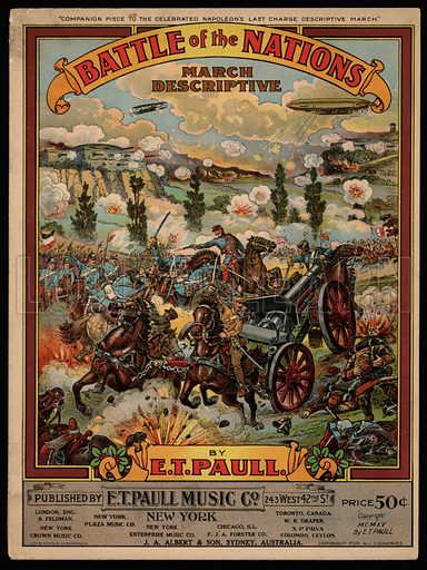 Battle of the Nations, WW1.  Music cover, early 20th century.