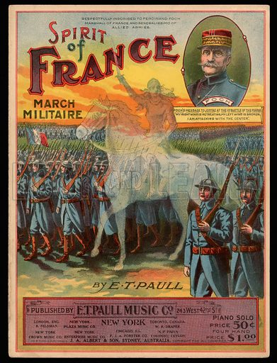Spirit of France, March Militaire, WW1.  Music cover, early 20th century.