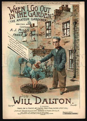 When I Go Out In The Garden, The Amateur Gardener.  Music cover, 19th century.