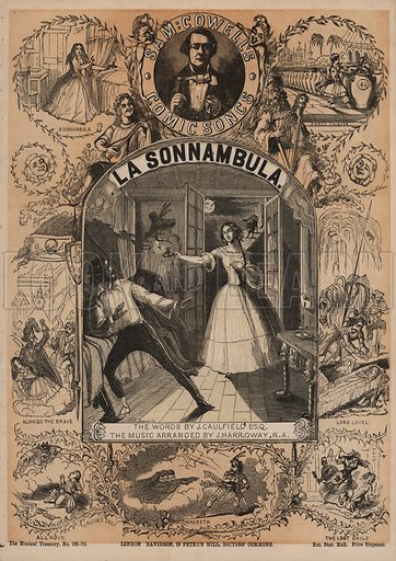 La Sonnambula, one of Sam Cowell's Comic Songs.  Music cover. 19th century.