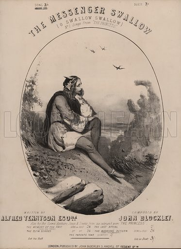 O Swallow Swallow, from Tennyson's The Princess.  Music cover. 19th century.