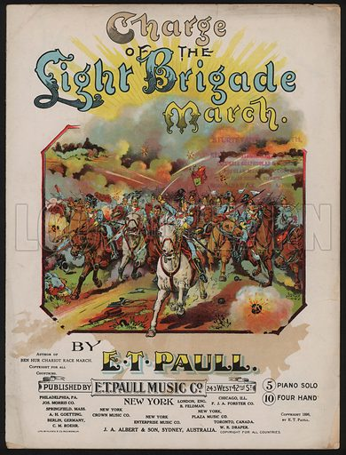 Charge of the Light Brigade March.  Music cover, early 20th century.