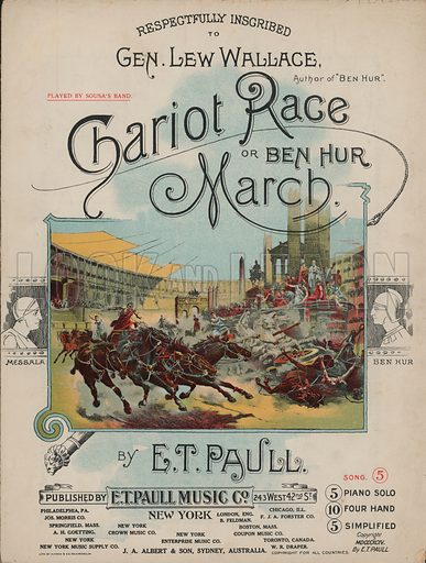 Chariot Race of Ben Hur March.  Music cover, early 20th century.