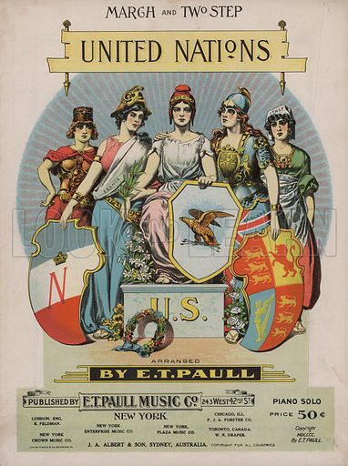United Nations, on an American podium.  Music cover, early 20th century.