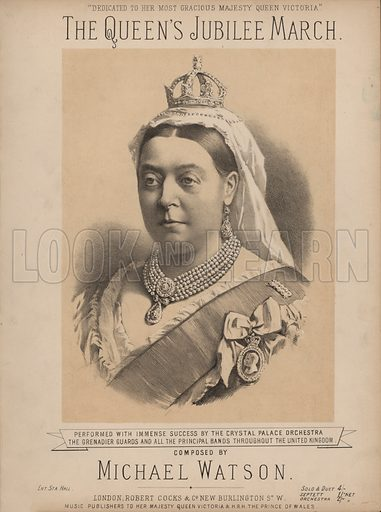 The Queen's Jubilee March - with portrait of Queen Victoria.  Music cover.