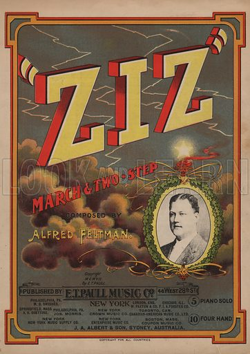 """ZIZ"" - march and two-step.  Music cover, early 20th century."