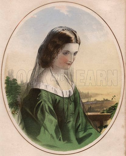 Adele - sad-looking girl in green dress, wearing black veil.  Illustration for music cover, 19th century.