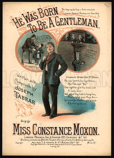 He Was Born To Be A Gentleman.  Music cover, 19th century.