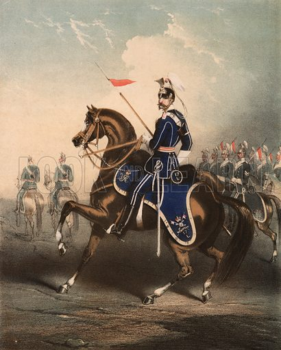 Lancers.  Illustration for music cover, 19th century.