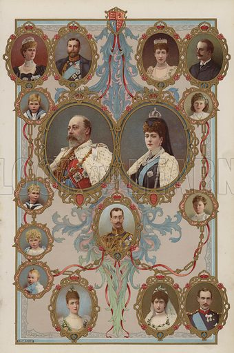 King Edward VII, Queen Alexandra and their children and grandchildren.  Illustration for the Coronation Number of The Sphere, June 1902, to celebrate the coronation of King Edward VII and Queen Alexandra. The coronation took place at Westminster Abbey on 9 August 1902. Originally scheduled for 26 June of that year, the ceremony had been postponed because of the King's illness.
