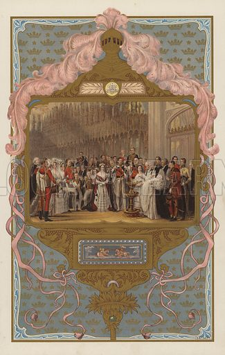The christening of the future King Edward VII.  Illustration for the Coronation Number of The Sphere, June 1902, to celebrate the coronation of King Edward VII and Queen Alexandra. The coronation took place at Westminster Abbey on 9 August 1902. Originally scheduled for 26 June of that year, the ceremony had been postponed because of the King's illness.